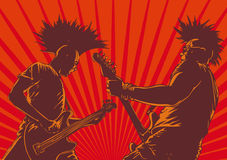 Punk guitar players. In retro style.  background Stock Images