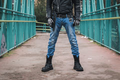 Punk guy posing in the city streets Stock Images