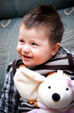 Punk-haired baby boy Stock Photos