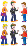 Punk and his friends stock illustration