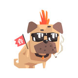 Punk Little Pet Pug Dog Puppy With Collar Smoking And Holding Anarchy Flag Emoji Cartoon Illustration Royalty Free Stock Photography