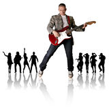 Punk man with the guitar and silhouette. Punk man with the guitar and black people silhouette Stock Image