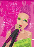 Punk Meisje in Roze Royalty-vrije Illustratie