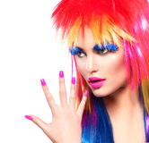 Punk model girl with colorful dyed hair royalty free stock photography