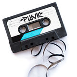 Punk musical genres audio tape label.  stock image