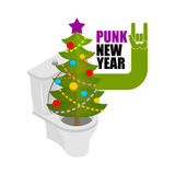 Punk New Year. Decorated fir stands in toilet bowl. unfriendly b Stock Images