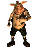 Punk Not Dead. 3d render of a punk rock pig with tattoos Royalty Free Stock Photography