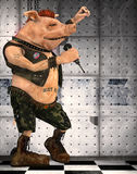 Punk pig toon. 3d render of a toon pig punk Royalty Free Stock Photography