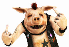 Punk pig toon. 3d render of a toon pig punk stock illustration