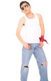 Punk posant avec le type 80s Photos libres de droits