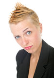 Punk rock business woman. Portrait of dynamic punk rock business woman Stock Photo