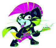 Punk Rock Cat Playing Electric Guitar. A punk black hat with pink mohawk and tongue out playing an electric guitar Stock Photography