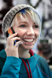 Punk Rock Funky Chick on Phone Stock Photography