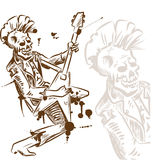 Punk rock guitarist. Hand draw Stock Images