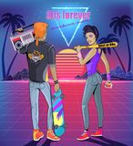 Punk and Rock Music from 80s Bright Disc Cover. 80s forever punk and rock music vector banner. Man in jacket with boom box and skateboard, woman in headphones royalty free illustration