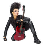 Punk rock musician isolated. On white Stock Image