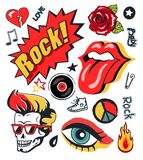 Punk Patch Vector Illustration Collection Poster. Punk rock-n-roll icons stickers set. Open mouth with tongue, vintage rose, makeup eye and skull with mohawk stock illustration