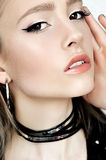 Punk rock style. Fashion woman model face with glamour makeup.  Royalty Free Stock Photo