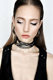 Punk rock style. Fashion woman model face with glamour makeup.  Royalty Free Stock Images