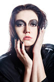 Punk rock style make-up. Punk rock style. Model with fashion dark make-up Stock Photo