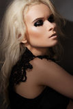 Punk rock style. Model with fashion gloss make-up Stock Images