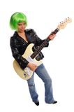 Punk rock woman. Punk rocker with green hair and electic guitar on a white background Stock Photography