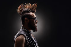Punk rocker with a Mohawk hairstyle Stock Photos
