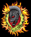 Punk skull face cartoon chinese green dragon in fire flames background Stock Image