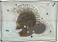 Punk skull - vector, hand drawn lines. Royalty Free Stock Photo