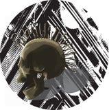 Punk skull - vector, mixed media. Royalty Free Stock Photography