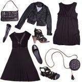 punk stilkvinnor för svart kläder Arkivbild