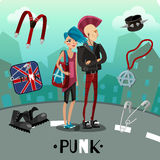 Punk Subculture Composition. Including people with flashy appearance and accessories on city background cartoon style vector illustration Stock Photo