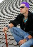 Punk sur le toit photos stock