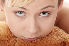 Punk teen girl with teddy royalty free stock images