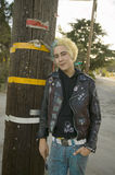 Punk teenager with blond and blue hair Royalty Free Stock Images