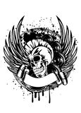 Punk with wings sign. Vector illustration a skull punk wings and dynamics Stock Photography