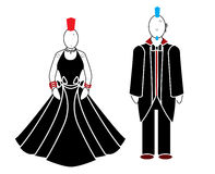 Punk woman and man. A punk man and woman wearing black and red with mohawks and piercings stock illustration