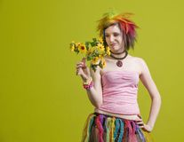 Punk woman with plastic flowers Stock Images