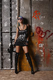Punk woman with rifle Stock Images