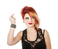 Punk woman showing idea Stock Image