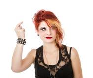 Punk woman showing idea Stock Image