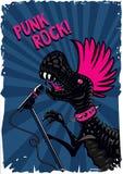 Punkdinosaurier mit einem Mikrofon Rockmusikplakat Abbildung der roten Lilie Tyrannosaur mit dem rosa Haar Lizenzfreie Stockfotografie