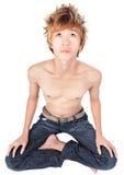 韩文思考的punker瑜伽 库存图片