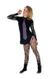 Punkmädchen, das im Bodysuit steht Stockbild