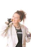 Punkmädchen isst Zitrone stockfotos