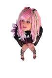 Punkmädchen mit dem rosafarbenen Haar Stockfotos