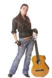 Punkmädchen mit Gitarre stockbilder