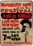 Punkmusik-Festival-Manchester-Weinlese-Mann-T-Shirt grafisches Vektor-Design Stockfotos