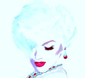 Punkowa sztuka, komiczki blondynki stylowa dziewczyna Jak Marilyn Monroe ale nasz swój unikalny cyfrowy sztuka styl, Obraz Stock