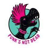 Punkrockdinosaurie med rosa frisyr Illustration för tecknad filmtecken Isolerad vektormaskot Idé för t-skjorta tryck vektor illustrationer